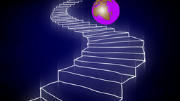 GLOBE ON THE STAIRCASE Animation