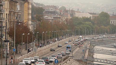 Buda Wharf View Budapest Hungary 01 neutral Stock Video Footage