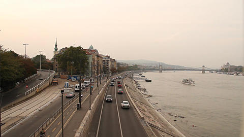 Buda Wharf View Budapest Hungary 03 neutral Stock Video Footage
