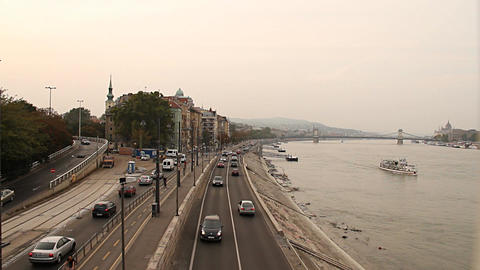 Buda Wharf View Budapest Hungary 03 neutral Footage