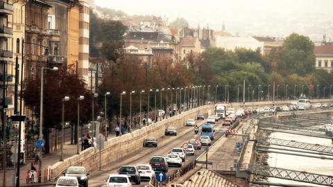 Buda Wharf View Budapest Hungary 05 stylized artsoft filmlook Footage