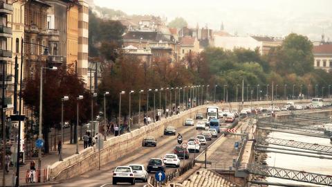 Buda Wharf View Budapest Hungary 05 stylized artsoft... Stock Video Footage