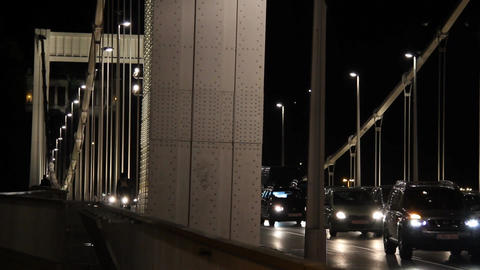 Budapest by Night 02 Elizabeth Bridge Stock Video Footage