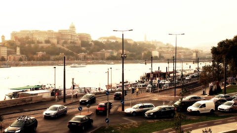Budapest View with the Castle Of Buda Hungary 04 s Stock Video Footage