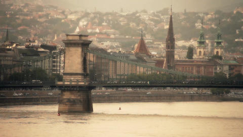 Chain Bridge in Budapest Hungary stylized artsoft filmlook Stock Video Footage