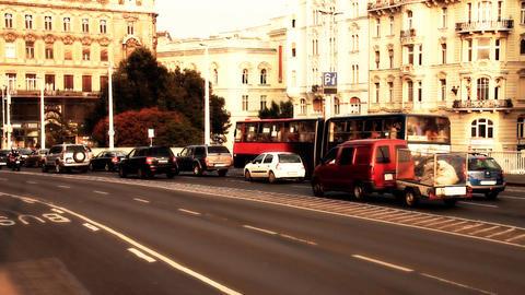 Elizabeth Bridge Traffic Budapest Hungary 05 stylized... Stock Video Footage