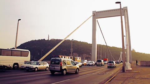 Elizabeth Bridge Traffic Budapest Hungary 10 stylized... Stock Video Footage