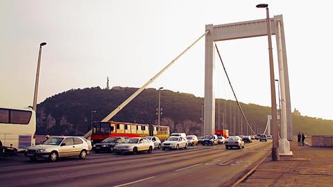 Elizabeth Bridge Traffic Budapest Hungary 10 stylized... Stock Video Footage