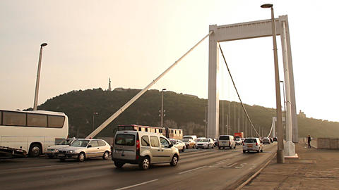 Elizabeth Bridge Traffic in Budapest Hungary 01 neutral Stock Video Footage