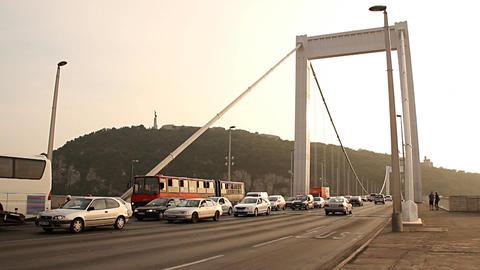 Elizabeth Bridge Traffic in Budapest Hungary 01 neutral Footage