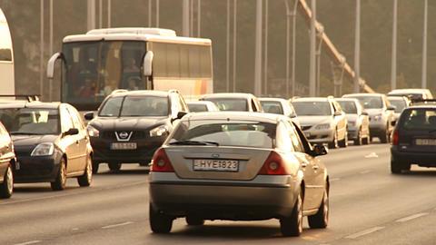 Elizabeth Bridge Traffic in Budapest Hungary 03 neutral Stock Video Footage