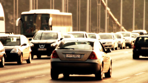 Elizabeth Bridge Traffic in Budapest Hungary 08 stylized... Stock Video Footage