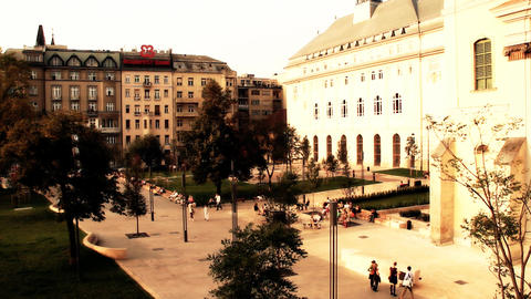 European Square Budapest Hungary stylized artsoft diffusion Stock Video Footage