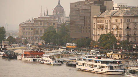 Pest Wharf View with the Parliament Building Budapest Hungary neutral Footage