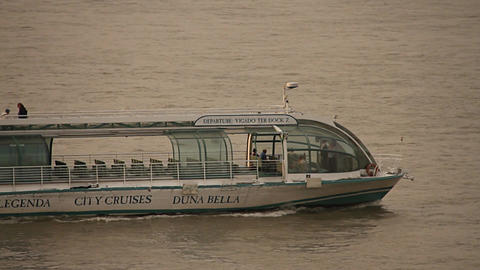 Tourist Ship on River Danube in Budapest Hungary neutral Stock Video Footage