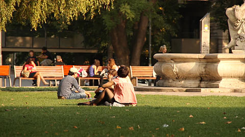 Young People in a European Park neutral Stock Video Footage