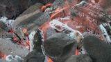 Hawaiian Imu pit fire detail Footage
