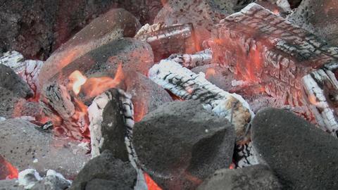 Hawaiian Imu pit fire detail Stock Video Footage