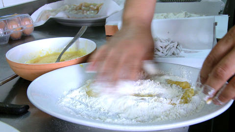 Cooking italian fish in oil Stock Video Footage