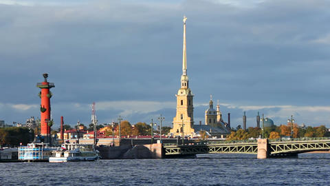 Peter and Paul Fortress, Rostral Column and Palace Stock Video Footage