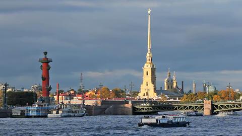 Kunstkamera and Palace Bridge Footage