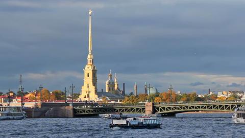 Kunstkamera and Palace Bridge Stock Video Footage