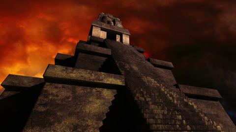 Maya Pyramid Dramatic Sunset 01 Stock Video Footage