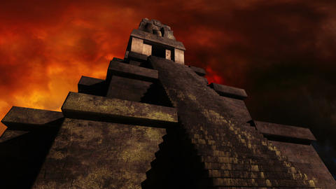 Maya Pyramid Dramatic Sunset 01 Stock Video Footage