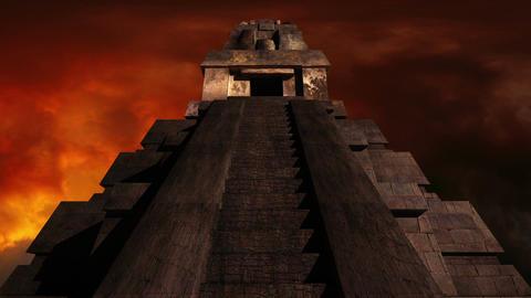 Maya Pyramid Dramatic Sunset 03 Stock Video Footage