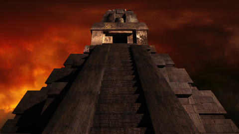 Maya Pyramid Dramatic Sunset 03 Stock Video Footage