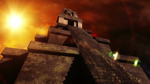 Maya Pyramid Dramatic Sunset 05 Stock Video Footage