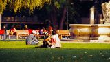 Young People in a Park stylized retro filmlook Footage