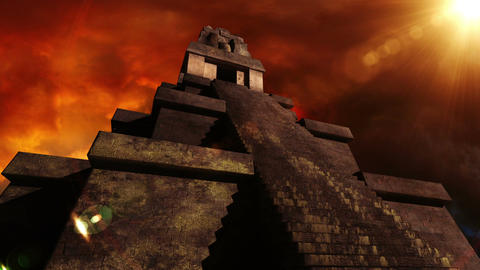 Maya Pyramid Dramatic Sunset 06 Stock Video Footage