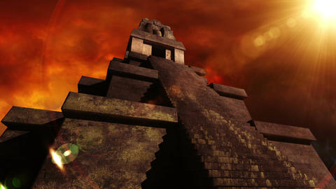 Maya Pyramid Dramatic Sunset 06 Stock Video Footage