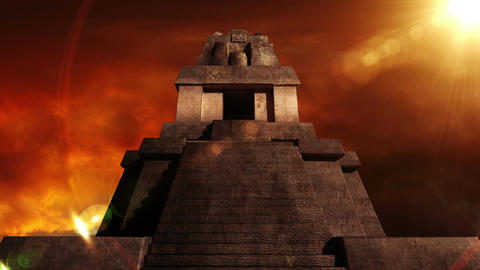 Maya Pyramid Dramatic Sunset 08 Stock Video Footage