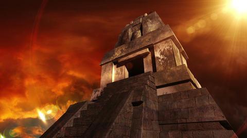 Maya Pyramid Dramatic Sunset 12 Stock Video Footage