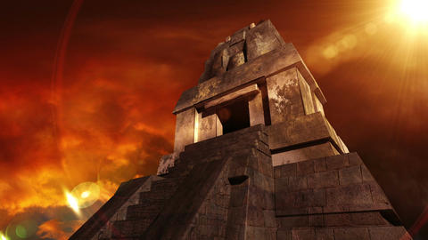 Maya Pyramid Dramatic Sunset 12 Stock Video Footage