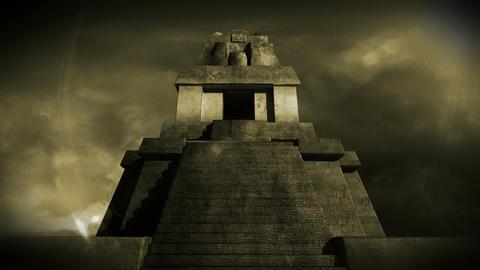 Maya Pyramid Dramatic Sunset 14 Stock Video Footage