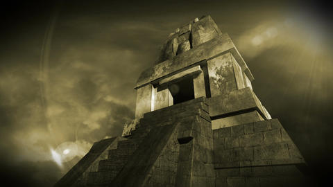 Maya Pyramid Dramatic Sunset 16 Stock Video Footage