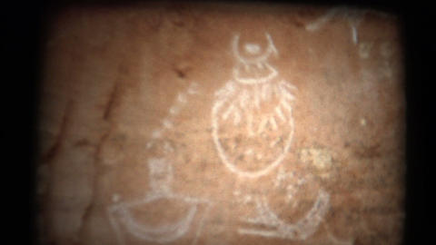 (1950's 8mm Vintage) Cave Man Drawings in Cave Footage