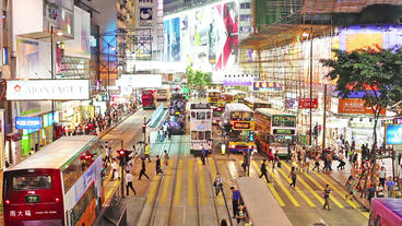 Timelapse video of a busy steet and commuters in Causeway Bay Footage
