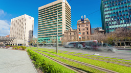 4k timelapse video of the downtown area of Adelaide, South Australia, zooming in Footage