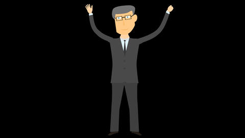 happy business man character 02 Animation