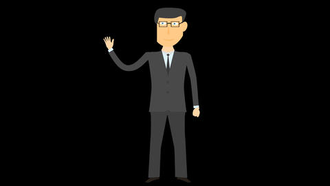 cartoon business man alpha say hello 02 Animation