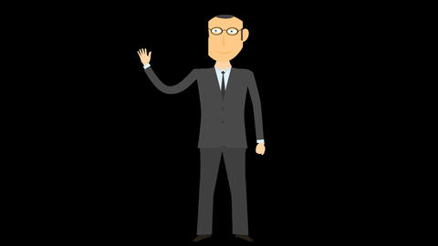 cartoon business man alpha say hello 05 Animation