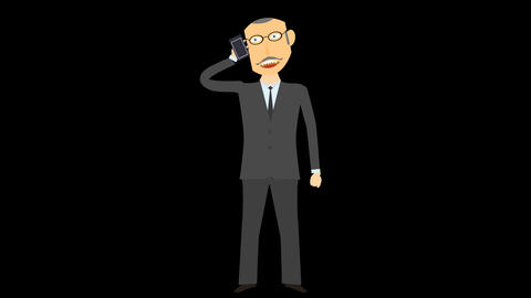 Cartoon Character Talking At Phone Alpha 05 stock footage