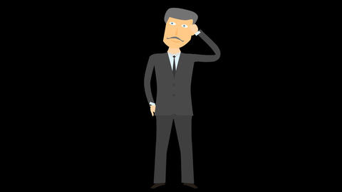 Cartoon character Businessman thinking alpha 04 Animation
