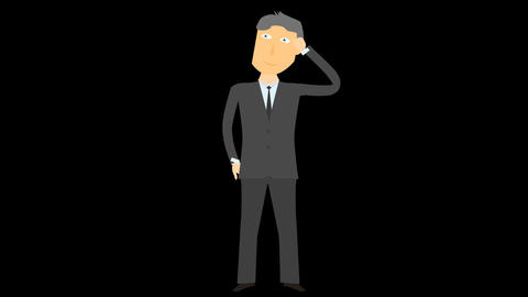 Cartoon Character Businessman Thinking Alpha 03 stock footage