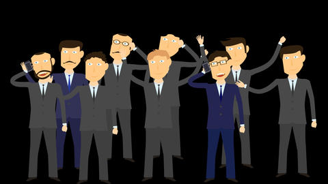 cartoon group of business man character alpha Animation