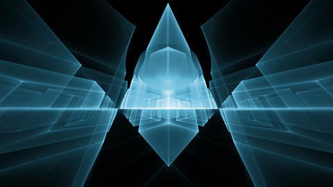 dynamic blue cubes in perspective on black background Animation